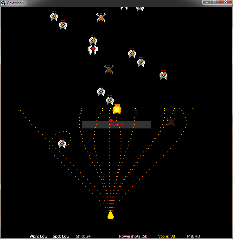 Showing the missiles in action. You can see an enemy ship about to explode in the middle.